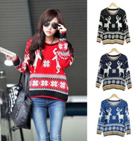 Women Long V-Neck High Quality long sleeve oversized cute christmas deer sweaters for women 2013 pullovers and kintwear coats for woman top sale