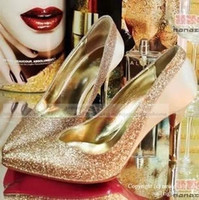 Wedding Loafers High Heel Cheap Gold Wedding Heels Shining Sequin Bridal Shoes 7.5-9cm High Heels Gold Black Red Career Shoes Women Party Evening Heels Club Shoes