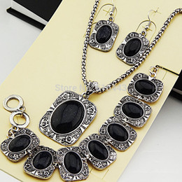 Wholesale Freeshipping Hot Sale Antique Silver one set Natural Black Sand Stones Earrings Bracelet Necklace Women Vintage Jewelry Set A739