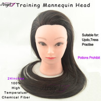 Wholesale 10colors available Female manequin manikin head with stand high temperature chemical fiber hair quot for hairdresser Haircut training