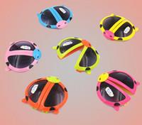al por mayor venta al por mayor gafas de sol plegables-Los niños reflejan animal de la historieta modela los vidrios de los niños gafas de sol plegables del niño del bebé al por mayor del escarabajo de mariquita