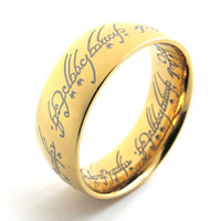 Wholesale 18K Gold Plated The Lord of the Rings In L Stainless Steel men women as power finger Ring mm Wide by China Post ePacket