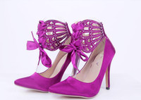 Wholesale Women Ankle Strap Shoes High Stiletto Heel Pumps Party Club Ribbons Rhinestone Butterfly Celebrity Strappy Sandal zg318