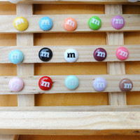 other cabochons - 100pcs flat back resin lovely kawaii M Chocolate Beans candy Cabochons Scrapbook Embellishment DIY Phone Decoration mm