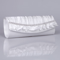 Wholesale Cocktail Evening Bags - Ivory Bridesmaid Clutches with Rhinestones Rectangle Bags Evening Clutch Ruffled Party Clutches Cocktail Purse Bridal Hand Bags with Chain