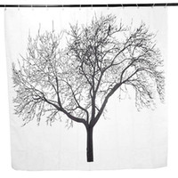 Wholesale Panda Big Bargain Black Tree Branch Pattern Polyester Fabric Bath Shower Curtains