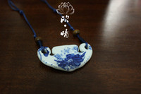 Pendant Necklaces China-Miao Women's National Wind retro sweater chain jewelry wholesale jewelry red peony Chinese style blue and white ceramic necklace female pastels