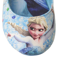 Wholesale 2014 hot sell frozen elsa and anna shoes blue girls flats kids children princess shoes via DHL
