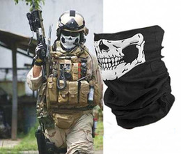 Wholesale Halloween Skull Face Mask Outdoor Motorcycle Bicycle Multi Function Headwear Hat Scarf Half Face Masks Cap Neck Ghost Scarf Free DHL