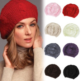 Wholesale Hot Sale Fashion Handmade Colors Warm Winter Women Beret Braided Baggy Beanie Wool Crochet Hat Ski Cap
