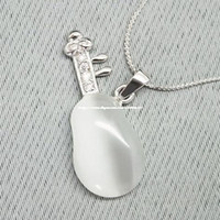 Wholesale Mi Zizi sterling silver white natural jade pendant necklace beautiful lute without chain