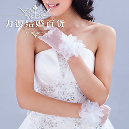 Wholesale 2014 Special Korean wedding bride wedding dress lace short gloves veil diamond accessories with jewelry