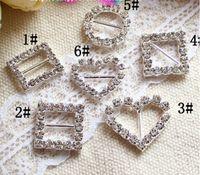 Wholesale 2014 new Round Crystal Rhinestone Ribbon Slider Buckles Wedding Invitations mm AA662