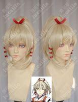 Pale gold Medium Boy UKA_Konkon Pale gold cheap cosplay wigs with Fluffy explosion clip 30cm*2cm Ribbon free
