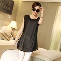 Casual Dresses Independent real shot map Strap 2014 summer new European and American big chiffon sleeveless dress vest small sling skirt big yards loose version