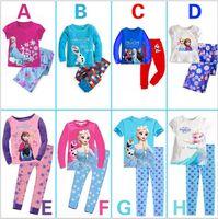 Unisex Summer 80-90-100-110-120-130 Wholesale-Baby Girls Frozen Pajamas Kids Anna Elsa Olaf Princess Pajamas Children Summer And Autumn Clothes New Cotton 2Piece Set 6s l