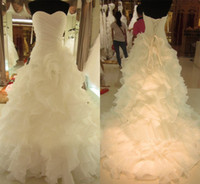 Other Model Pictures Sweetheart 2014 Free Shipping New Arrival Real Picture Bridal Gown Organza Ruffle Luxury Tiered Wedding Dress Long Train Customized