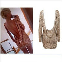 Night Out & Club Mini Dresses Autumn Sexy Glitter Club Bandage Dress Hoodies Long Sleeve Patchwork Celebrity Bodycon Dress Fashion Women Black Mini Cocktail Party Dresses M296