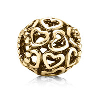 14k real gold - 100 Real K Gold Open Your Heart Charm Fits European Pandora Jewelry Bead Bracelets