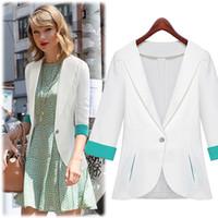 Women Blazer V-Neck 2014 New Elegant Women Business Suits One Button Blue Black White Formal Working Top 5pcs DHL Freeshipping