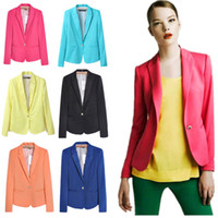 Wholesale 2014 autumn female fashion slim long sleeve small suit jacket Women candy color full sleeved single button blazers