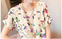 Crew Neck Batwing/Dolman Sleeve Short Sleeve S XL XXL New Women Chiffon blouse shirt lady fashion Batwing short sleeve bird print Loose Blouse Top tee Blusas