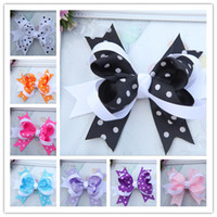 dot ribbon - 10pcs Color Children s inch Bowknot Stacked Boutique Hair Bow Hair Clips Christmas Dot Ribbon Bows Hairpins Hair Accessories Barrette