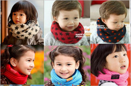 Wholesale Fashion Baby Boys Girls Winter Warm Checker Scraf Kids Grid Knitted Vintage Pattern muffler Scarves Child Outdoor Playing Ring Wraps