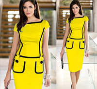 Wholesale Ebay AliExpress factory supply hot explosion models in Europe and America women hit color pencil skirt dress pocket S XXL