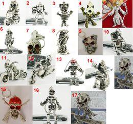 Wholesale Classic D Skull Riding Motorcycle keyring Simulation Model Skeleton Motorbike Keychain Key Chain Ring Keyring Keyfob