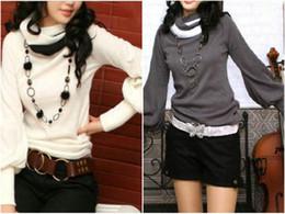 2014 new autumn winter high collar lantern sleeve sweater, bottoming shirt collar color cotton Long sleeve T-shirt women's K025