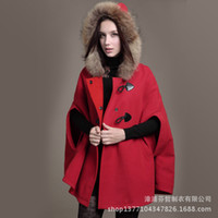 Wholesale New winter horn button hooded cloak thick woolen coat outside Slim wild women comfortable and stylish