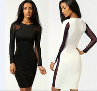 Casual Dresses Knee-Length Women New 2014 Spring Women Clothing Sexy Lace Patchwork Package Hip Clubwear Bandage Dresses Bodycon Dress, Black, White, S, M, L