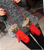 Wholesale Lady Womne Winter Warm Black Purple Faux Rabbit Fur PU Leather Full Five Finger Waist Gloves