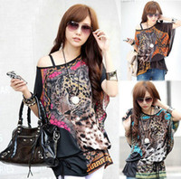 V-Neck Batwing/Dolman Sleeve Long 2014 new Women Wild Tiger Leopard Print 3 Colors Sexy Naked Shoulder Chiffon Cool Fashion Tide Women T-shirt Big Size