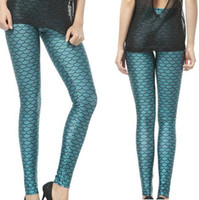 Polyester Mid Novelty Super elastic fish scale print emerald green black milk leggings for elegant women Free shipping slim penci pants