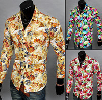 Wholesale NEW Men s Shirts Fashion Casual Slim Fit Floral print Long sleeve Shirts Colors