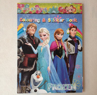 Wholesale Hot sale small Frozen Cartoon Coloring Book Drawing Book with Stickers Children Gift piece four Edition fast shipping