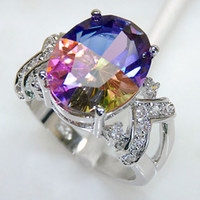 Wholesale Rainbow Mystic Topaz Crystal Women Sterling Silver Ring R182 Size