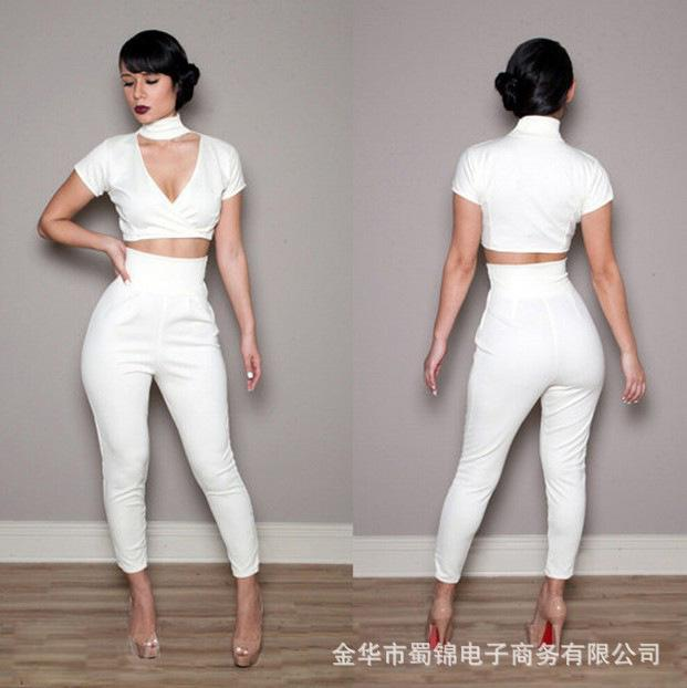 2017 Women Jumpsuits White Cut Out Turtleneck Short Sleeve Crop ...