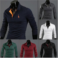 Wholesale Pure Color High Quality Cotton Fabric Slim Style Giraffe Long Sleeve Fashion Men s Tee Casual Tee New Design T shirt