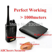Wholesale 2014 powerful watt Real metes radio mini invisible Earpiece Walkie Talkie Wallet Hidden Wireless Radio Box