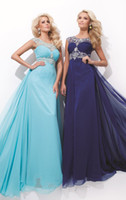 Reference Images Crew Chiffon WOW Luxurious Empire 2014 prom dress Crew Formal Dresses Open Back Sleeveless Floor Length Chiffon Beads Bling Evening Gowns