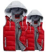 Wholesale 2014 men s cotton vest Pure color detachable cap Couples men s and women s vest Cotton vest manufacturers selling