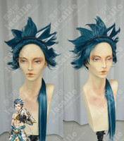 Wholesale Takeru_LD fluffy thickening cospay wig peacock blue and end lengthen three strands of silver hair extentions free hair band
