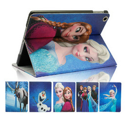 Wholesale Cartoon Frozen Gril Elsa Anna Olaf Sven PU Leather Flip Case Cover for ipad mini Bags with Stand Holder