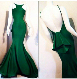 Wholesale SSJ Fashion Mermaid Backless Evening Dresses Michael Spaghetti Straps Back With Peplum Sweep Train Prom Dresses Green Formal Gowns
