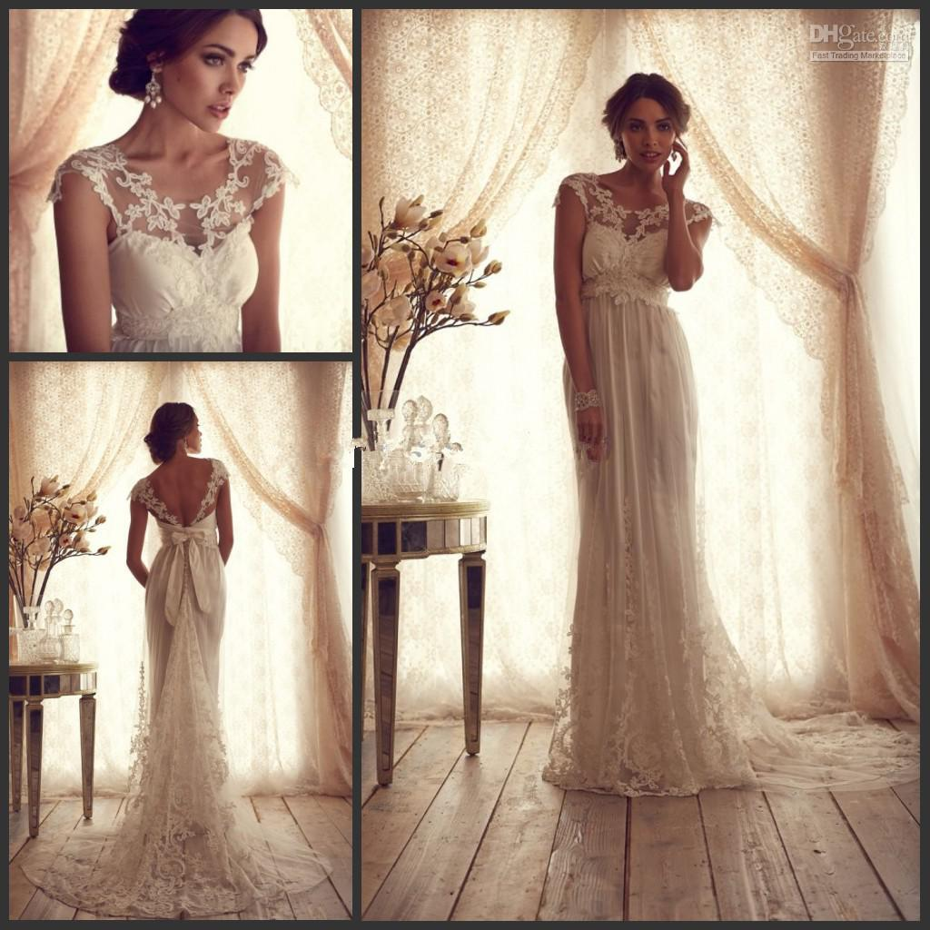 Cheap Discount Lace Wedding Dresses Sheer Top A Line Court Train With Nyc