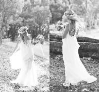 A-Line Reference Images Spaghetti SSJ Romantic White 2015 Wedding Dresses Boho Cheap Spaghetti beach Bohemian Vintage Beach Sexy Long Party Bridal Ball Gowns Simple Chiffon