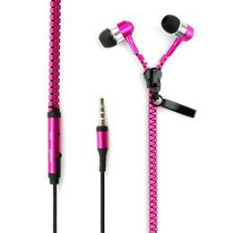 Wholesale 50pcs lot Stereo Bass Headset In Ear Metal Zipper Earphones Headphones with Mic 3.5mm MP3 MP4 MP5 phone earphone